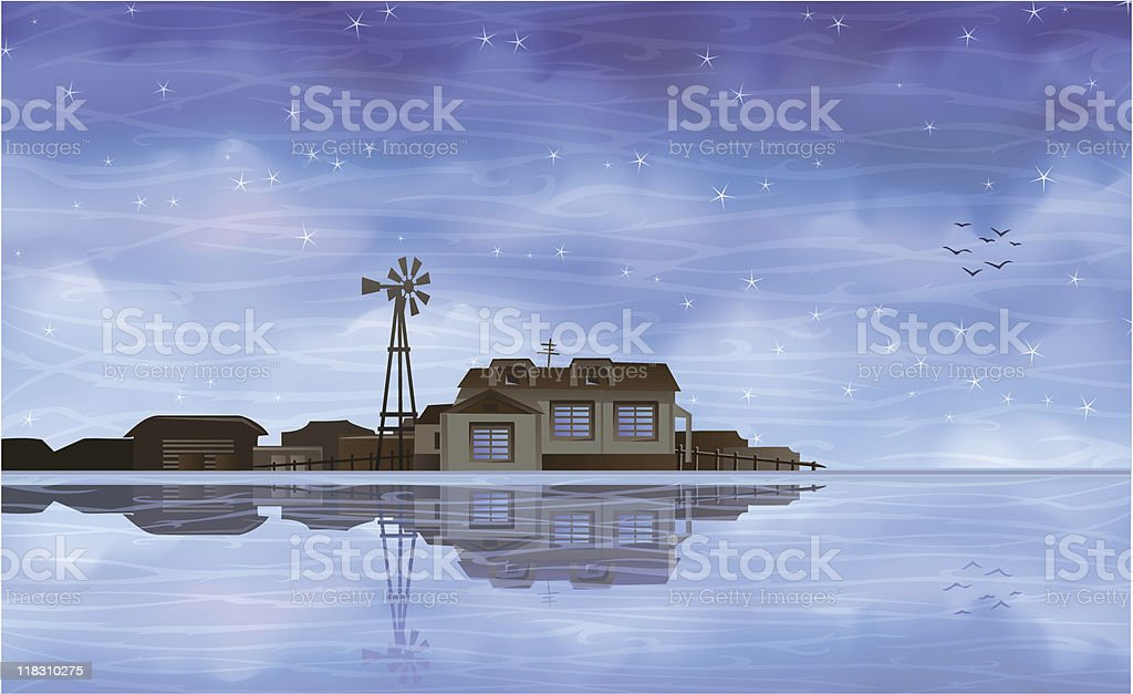 Ecological farm reflecting in clear blue water royalty-free stock vector art