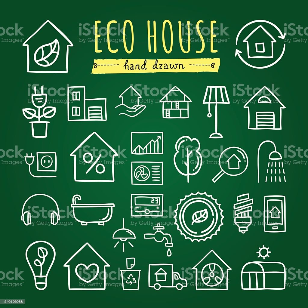 Ecological house icons. Ecology nature signs and symbols vector art illustration