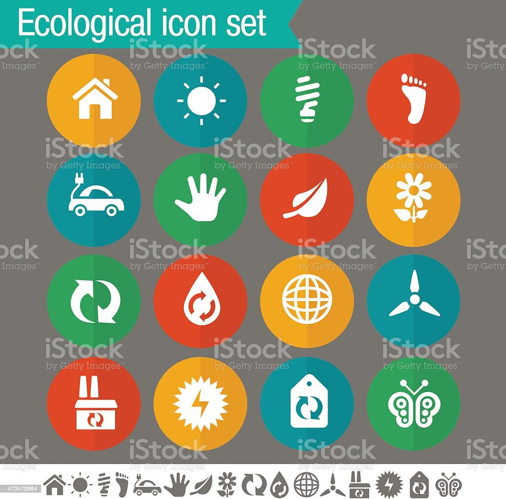 Ecological icons | Flat colored circles collection vector art illustration