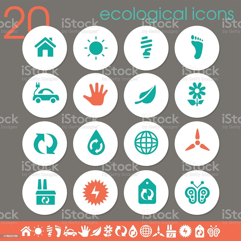 Ecological icons | Flat white circles collection vector art illustration