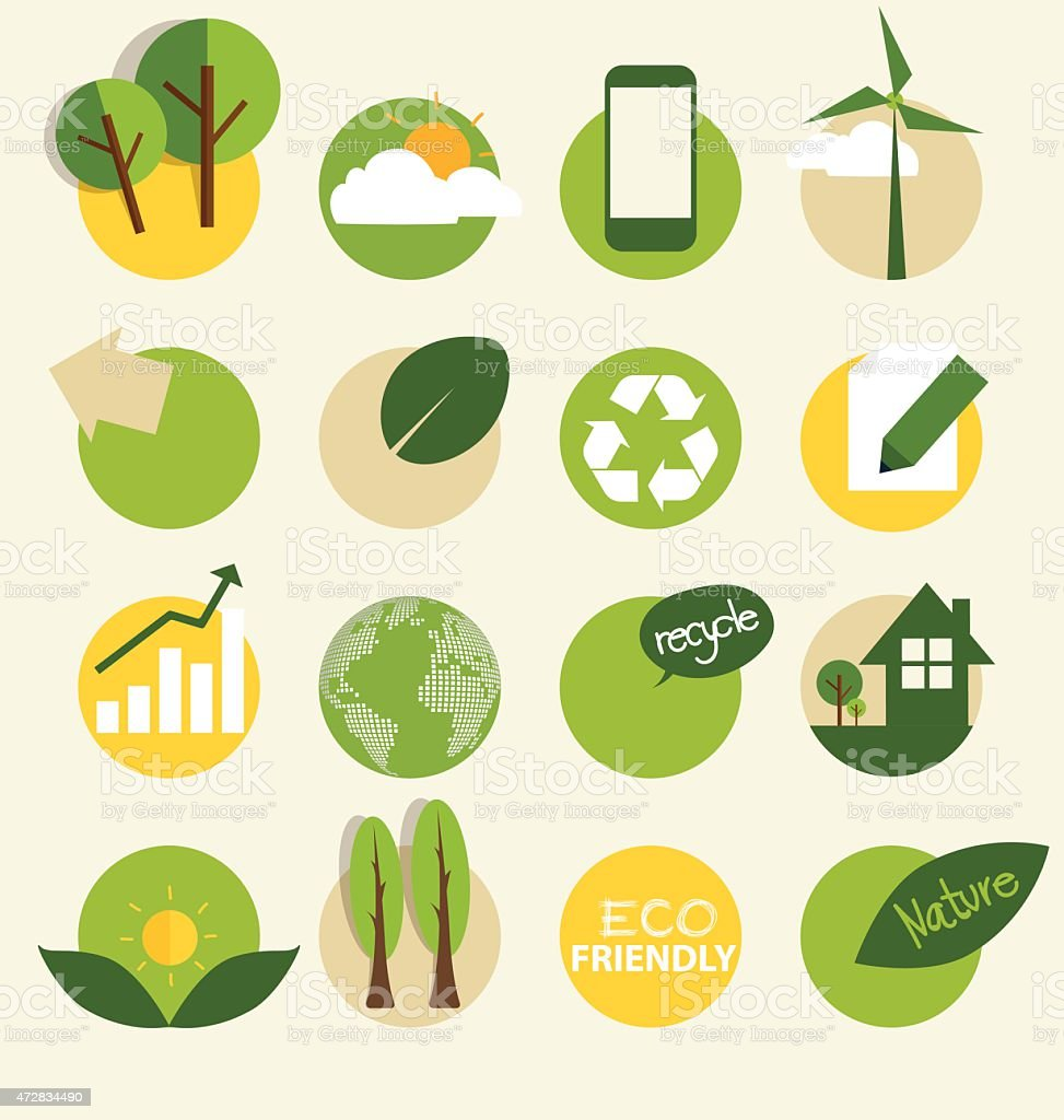 Ecological Icons. Vector illustration. vector art illustration