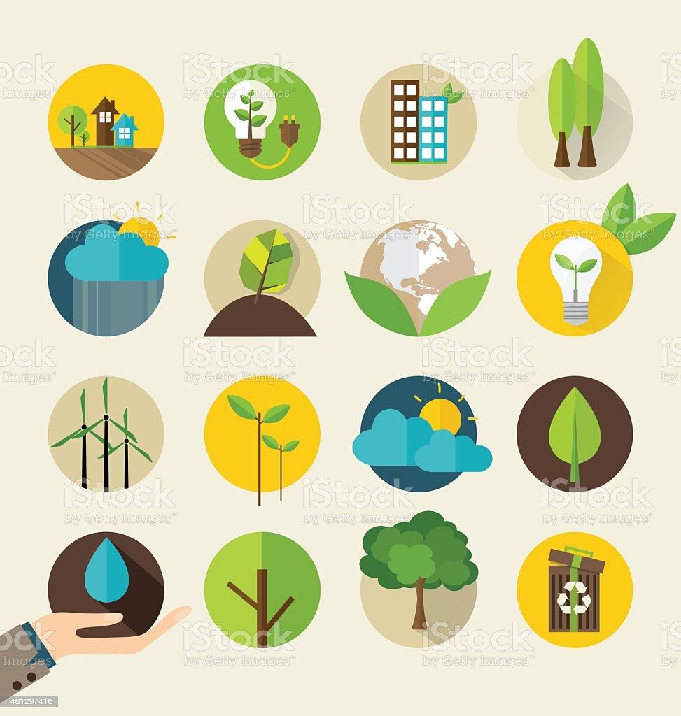 Ecological Icons. Vector illustration. vector art illustration