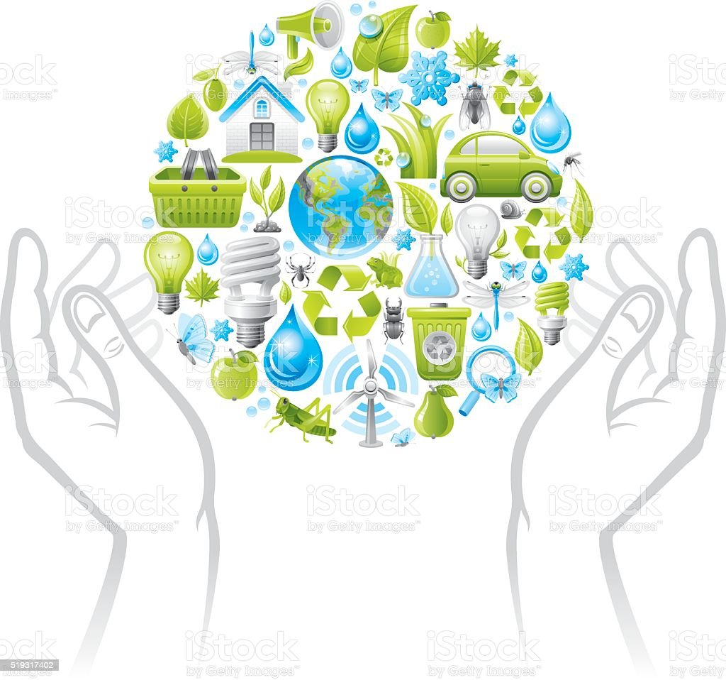 Ecological planet and hands vector art illustration
