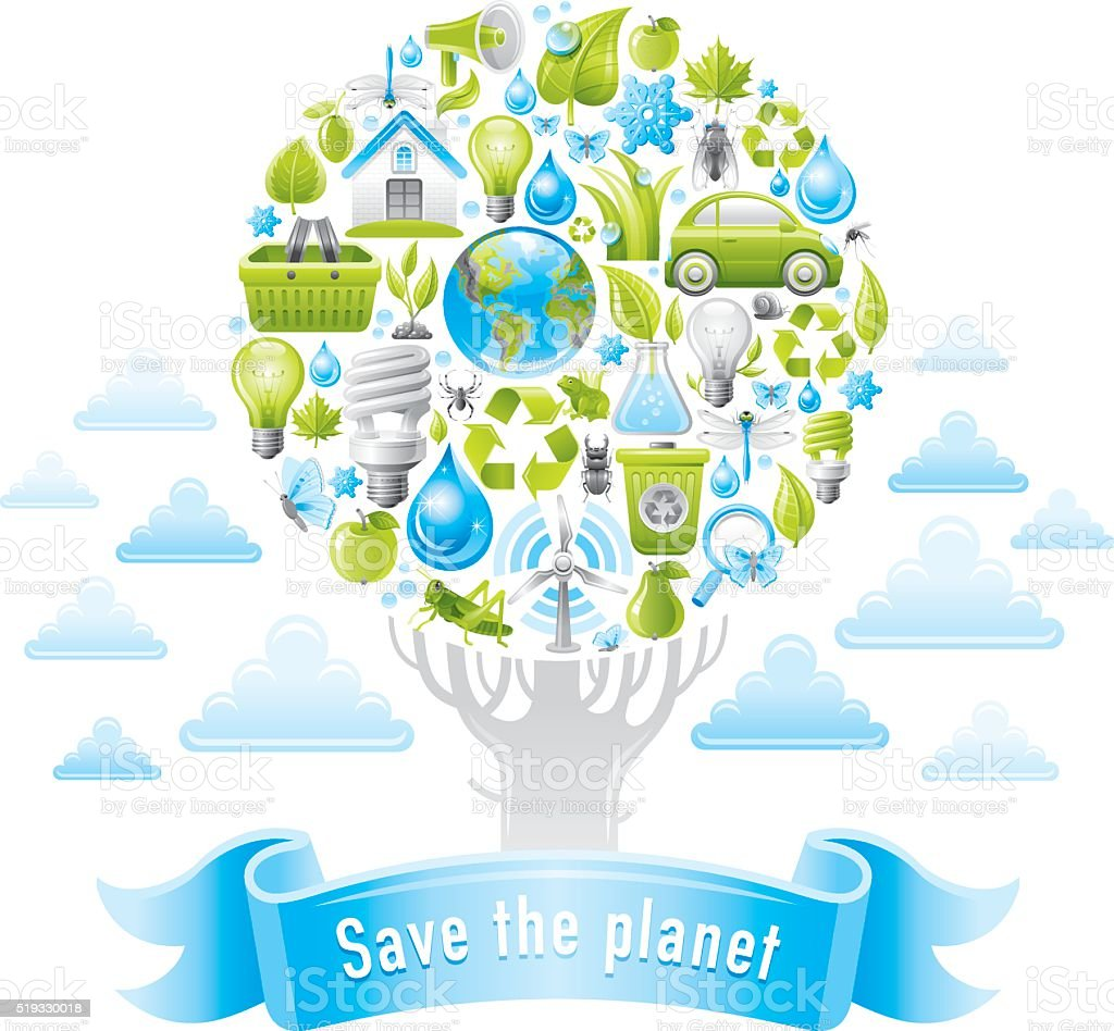 Ecological poster with planet and hands vector art illustration