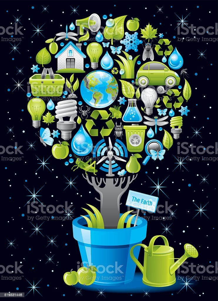 Ecological poster with tree in flowerpot on black background vector art illustration