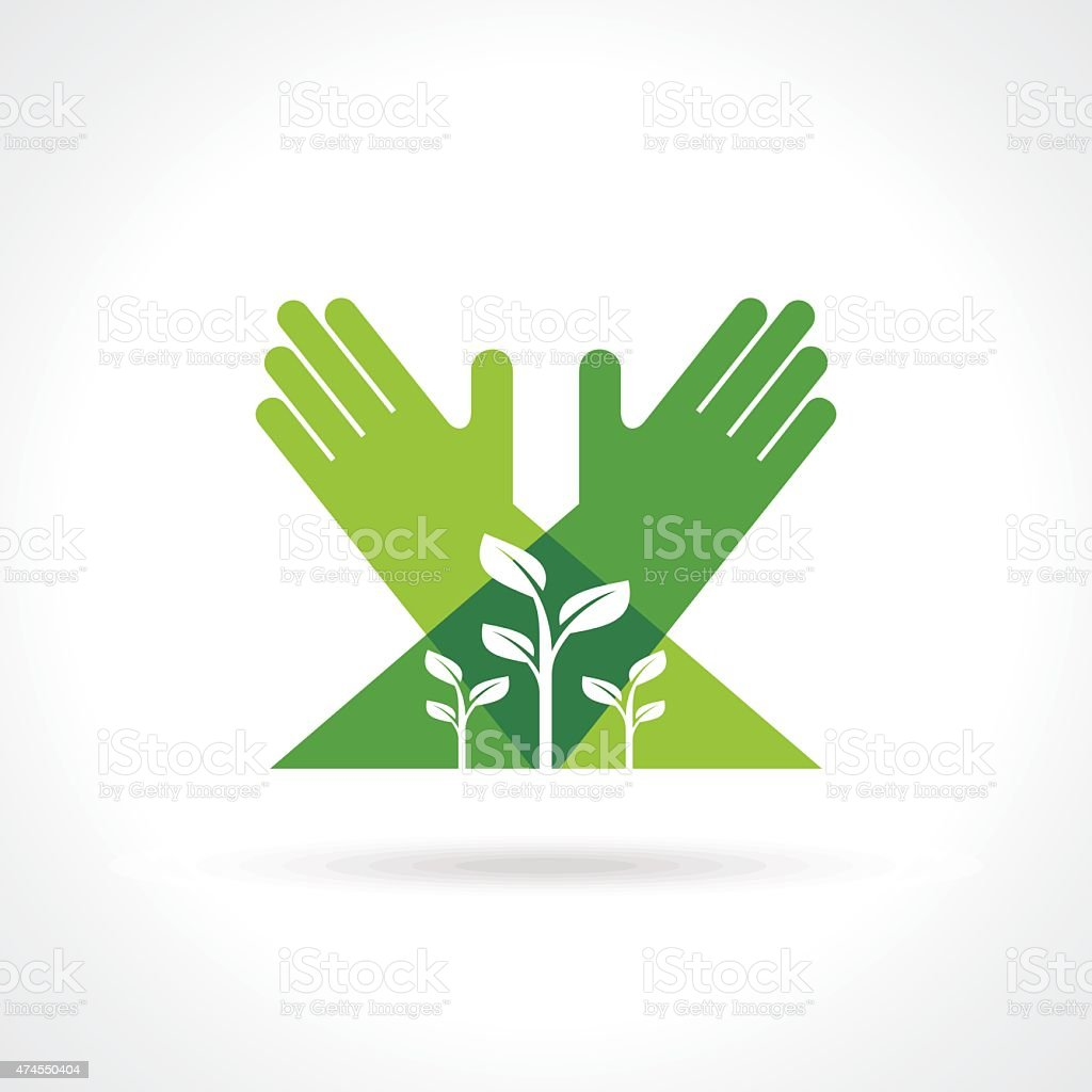 ecological symbols and signs,human's hands and green growing plants vector art illustration