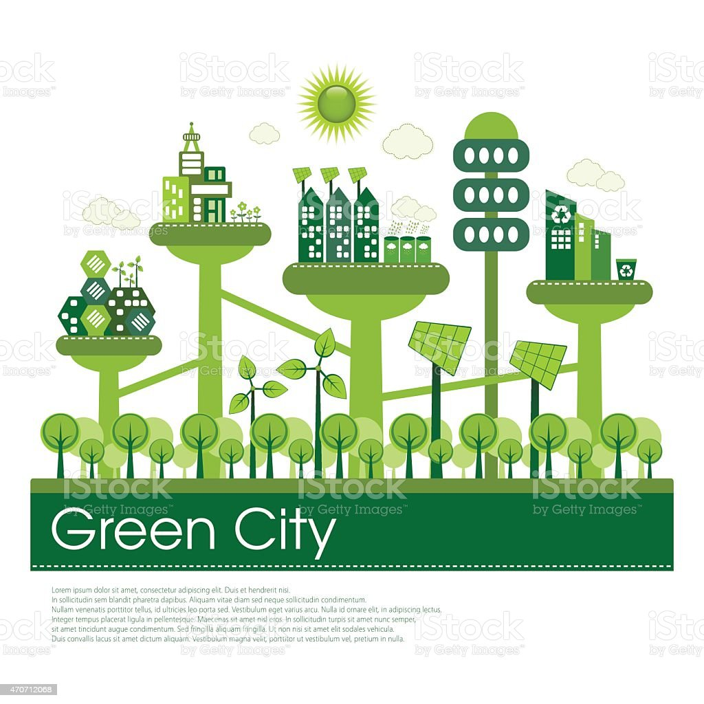 Ecologically conscious city design vector art illustration