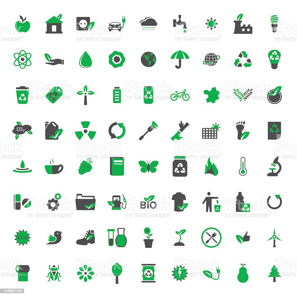 Ecology and environment vector icons set.Vector symbols. Vector illustration vector art illustration
