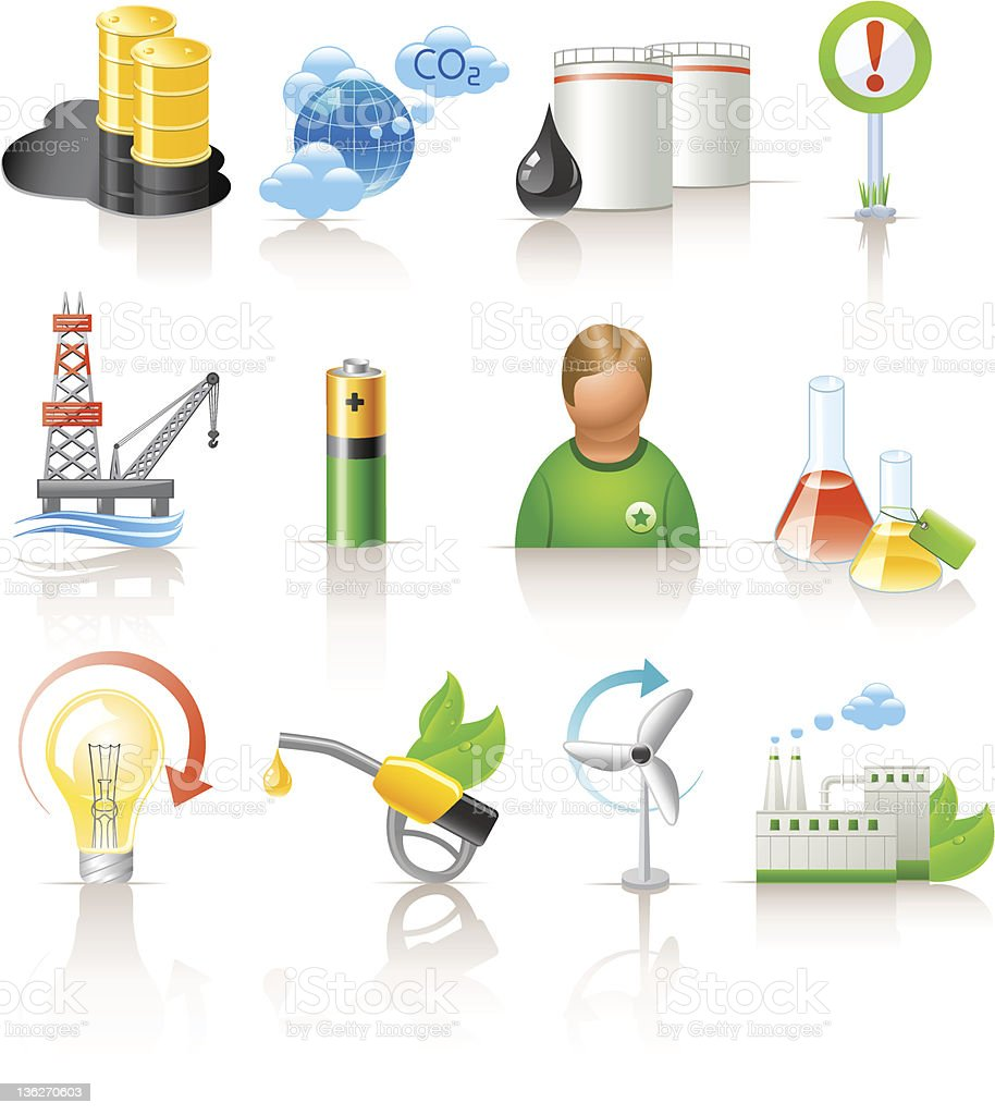 ecology and fuel icons royalty-free stock vector art