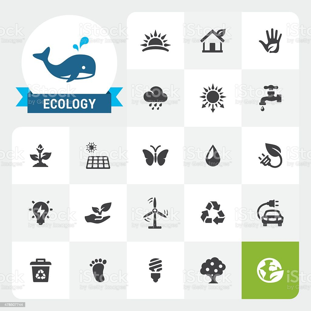 Ecology and Organic base vector icons and label vector art illustration