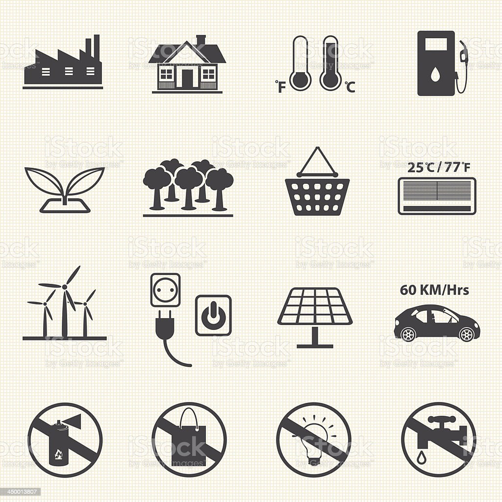 Ecology and Power saving icons. vector art illustration