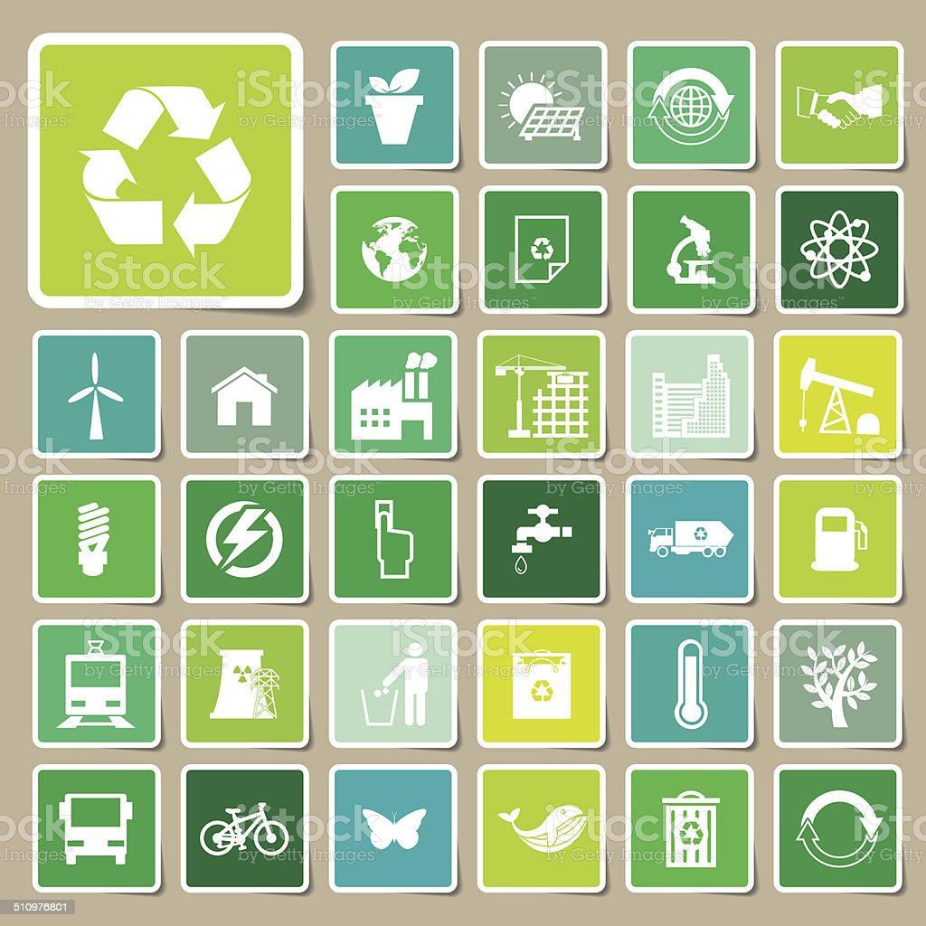 Ecology and recycle icons, Sticker vector eps10 vector art illustration