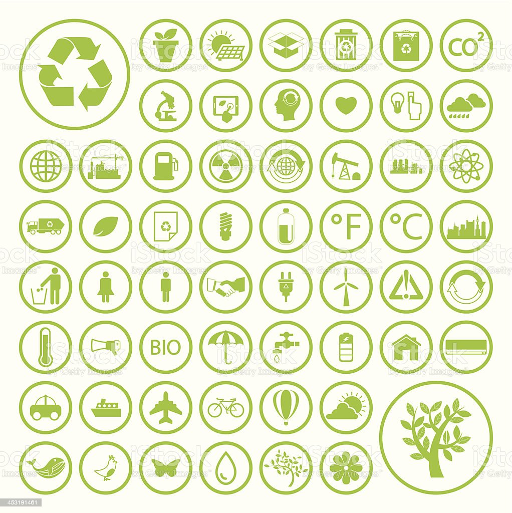 Ecology and recycle icons vector art illustration