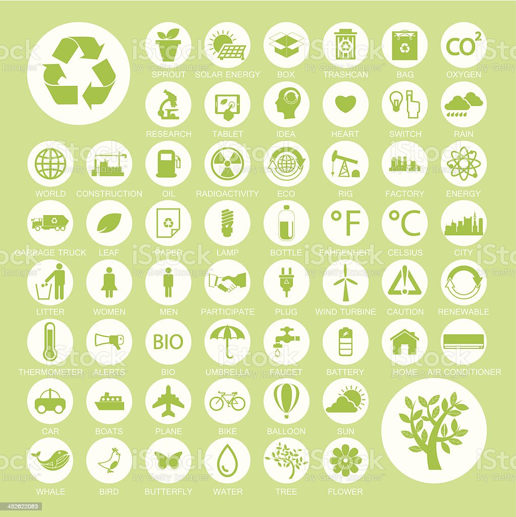 Ecology and recycle icons, vector set vector art illustration