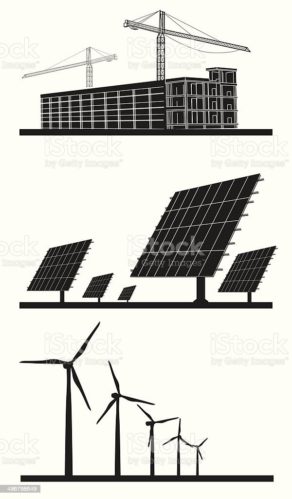 ecology background concept silhouettes vector art illustration