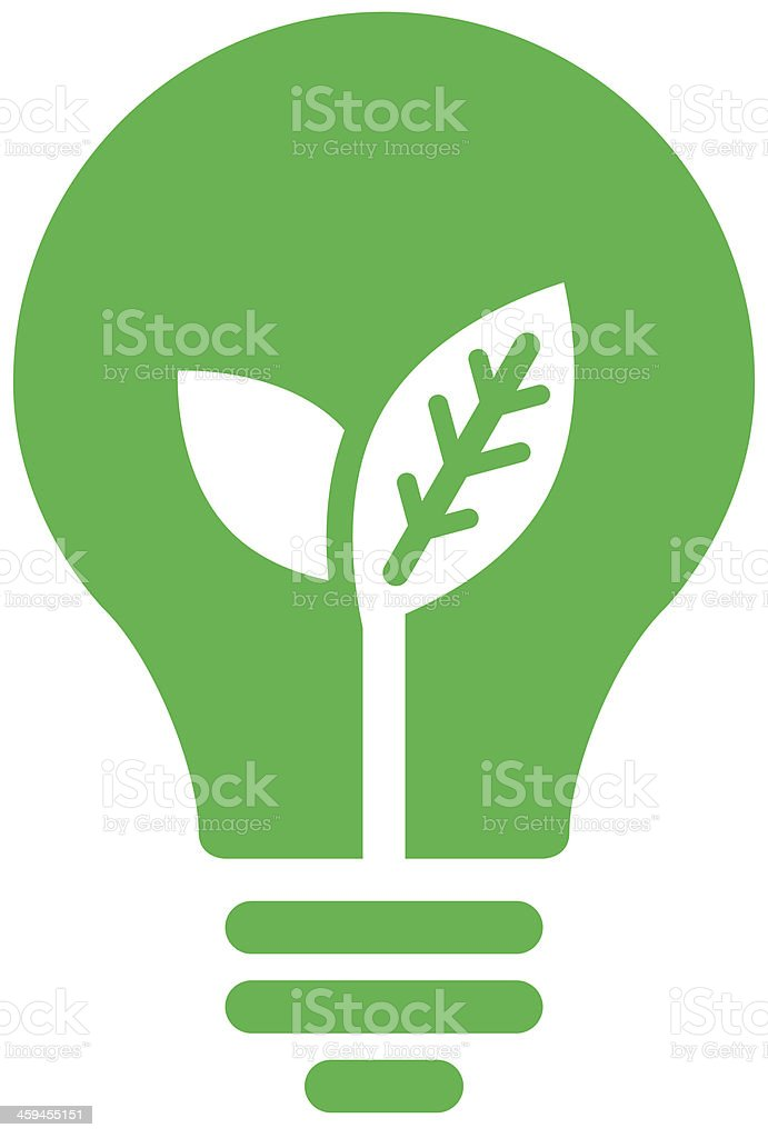 Ecology bulb icon vector art illustration