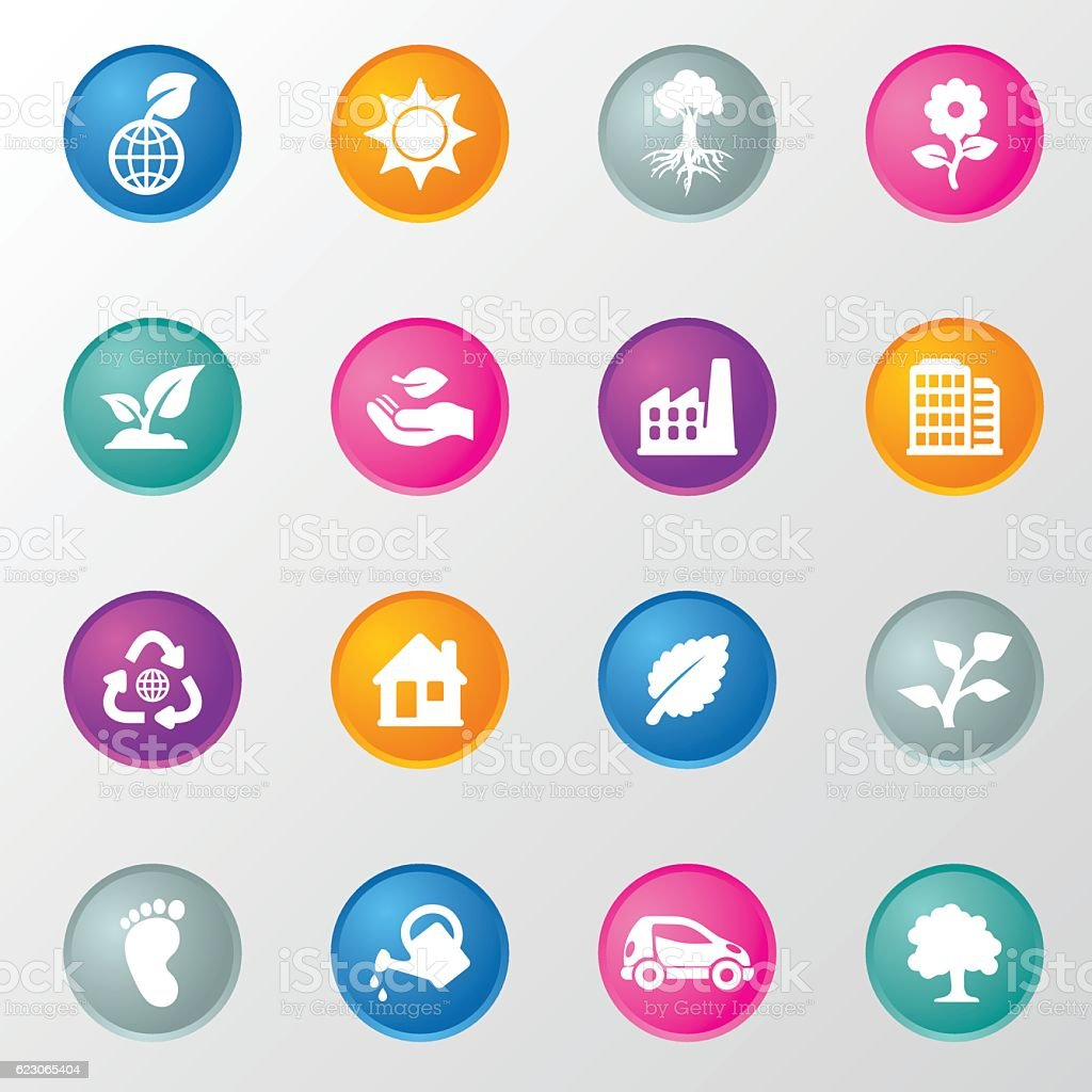 Ecology Circle Color Icons vector art illustration