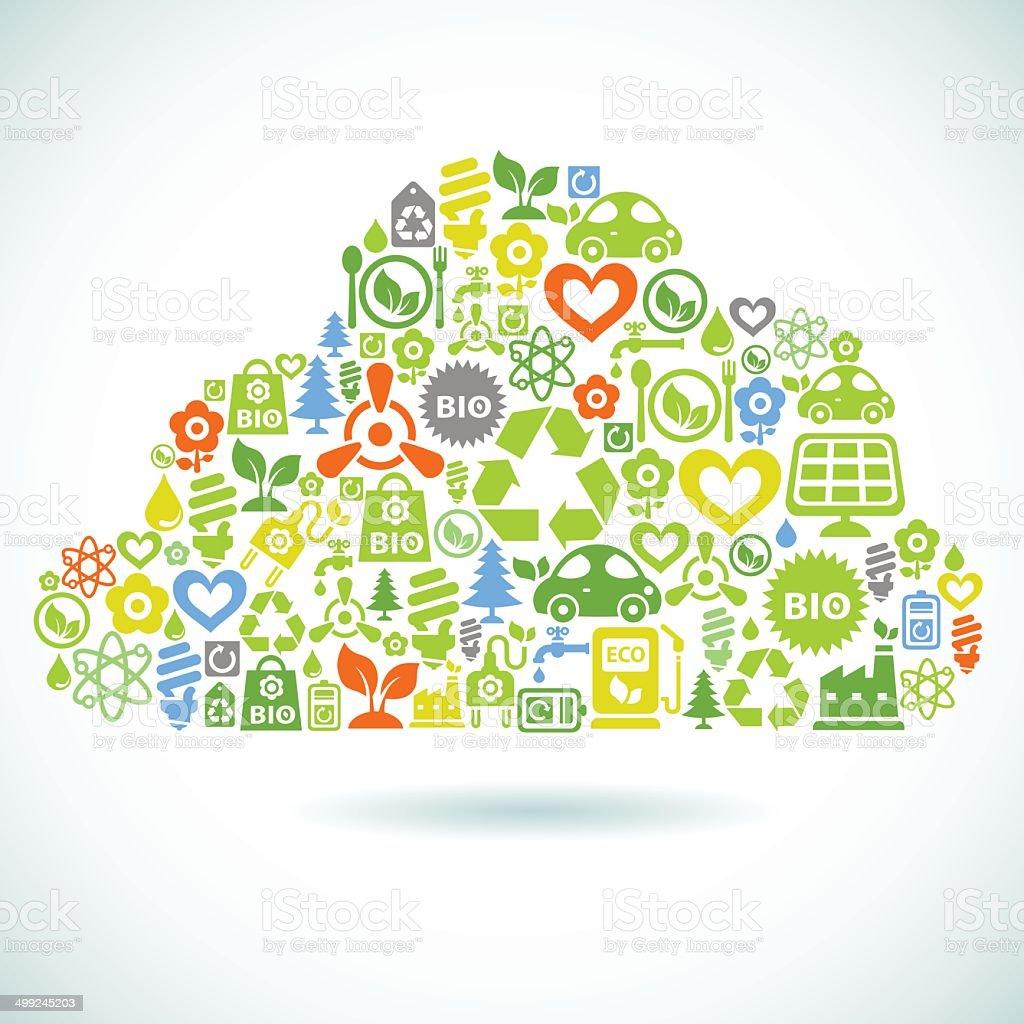 Ecology cloud vector art illustration