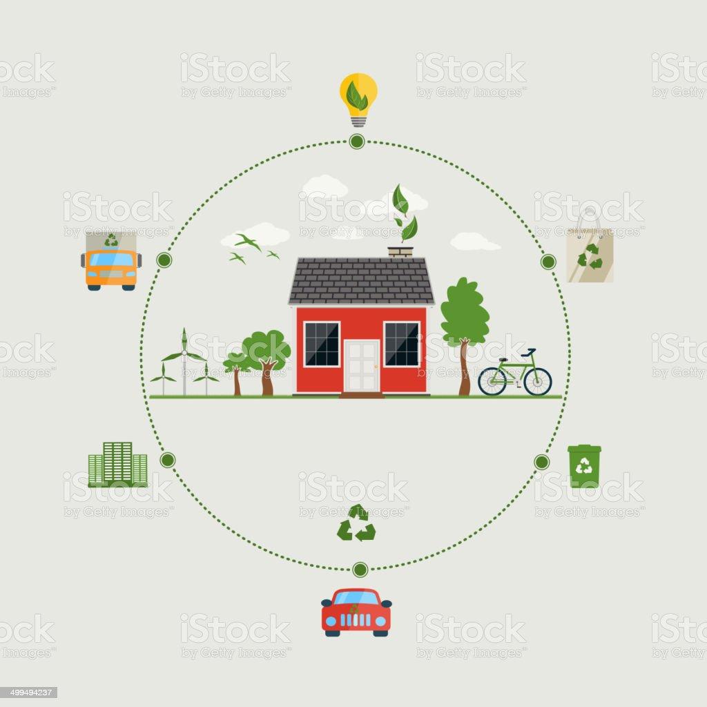 Ecology concept. Flat design environmental icons vector art illustration