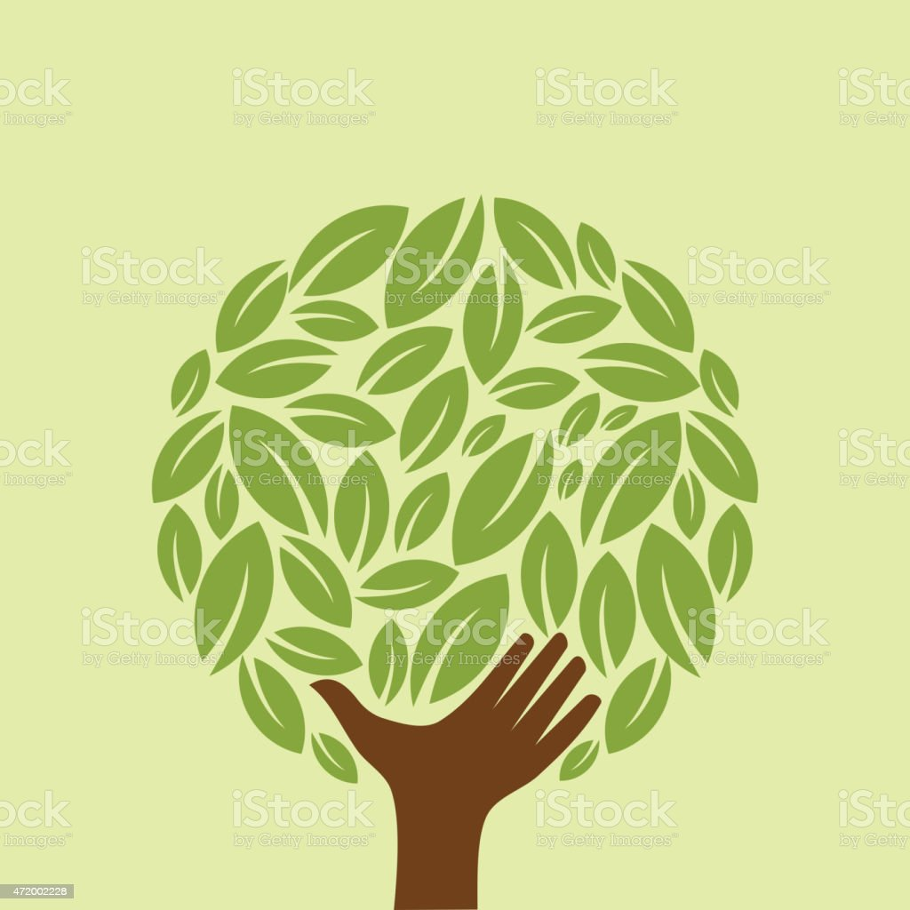 Ecology concept illustration of hand as a tree trunk vector art illustration