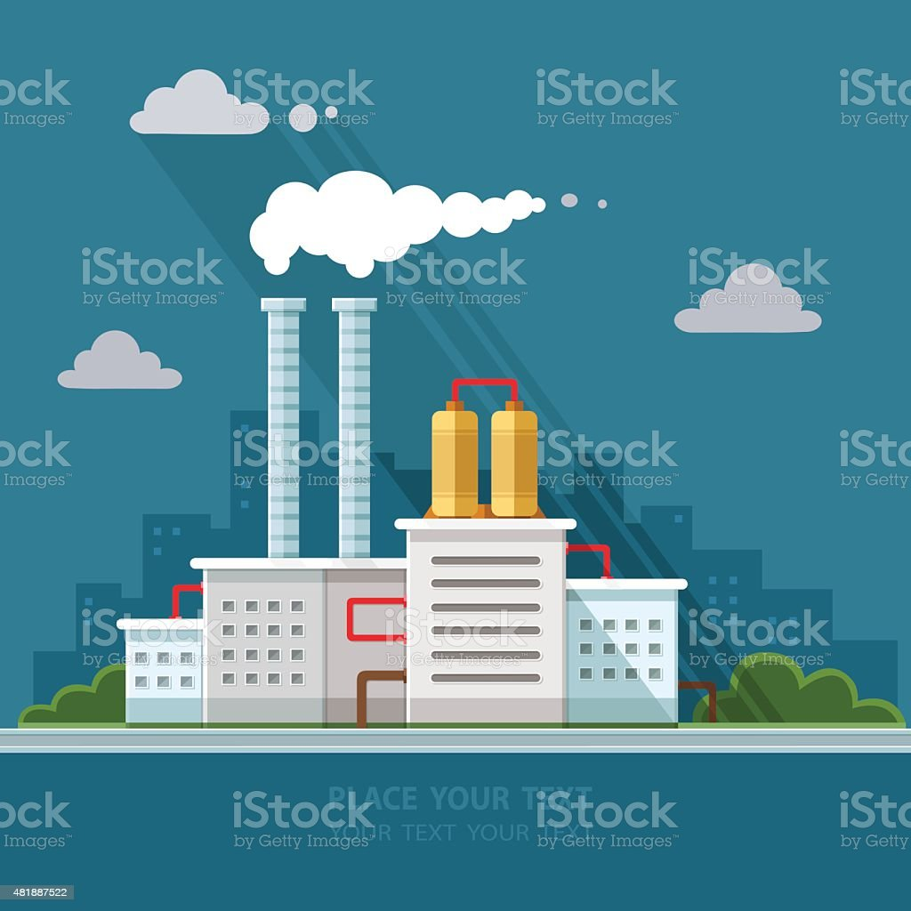 Ecology Concept - industry factory. Flat style vector illustration. vector art illustration