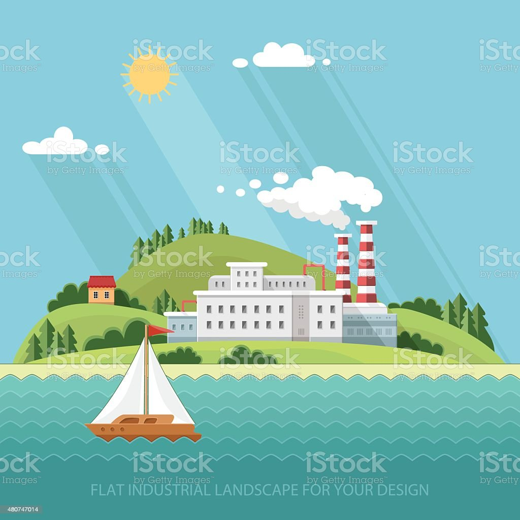 Ecology Concept - industry factory. Plant. Flat style vector illustration. vector art illustration