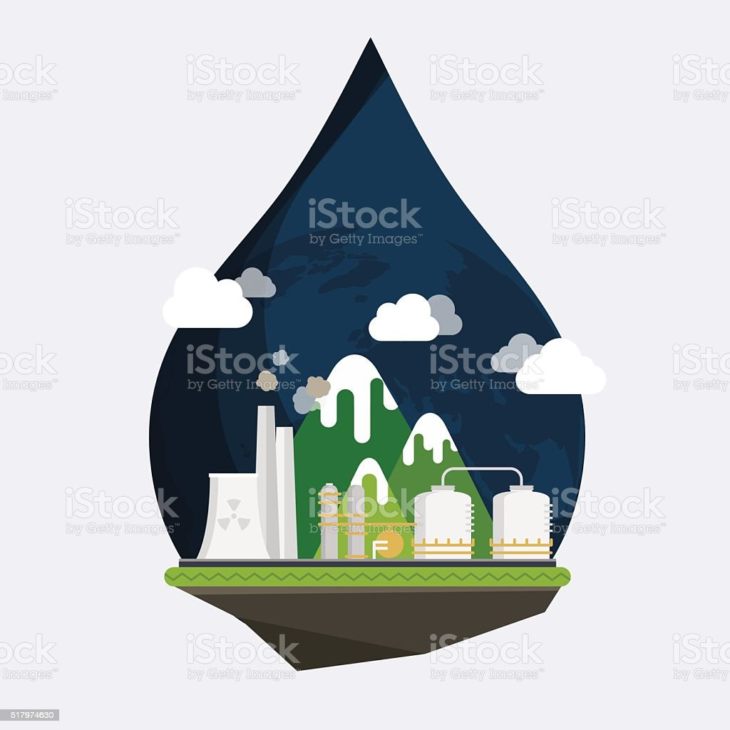 Ecology Concept Vector. Industrial landscape. Plant or factory. vector art illustration