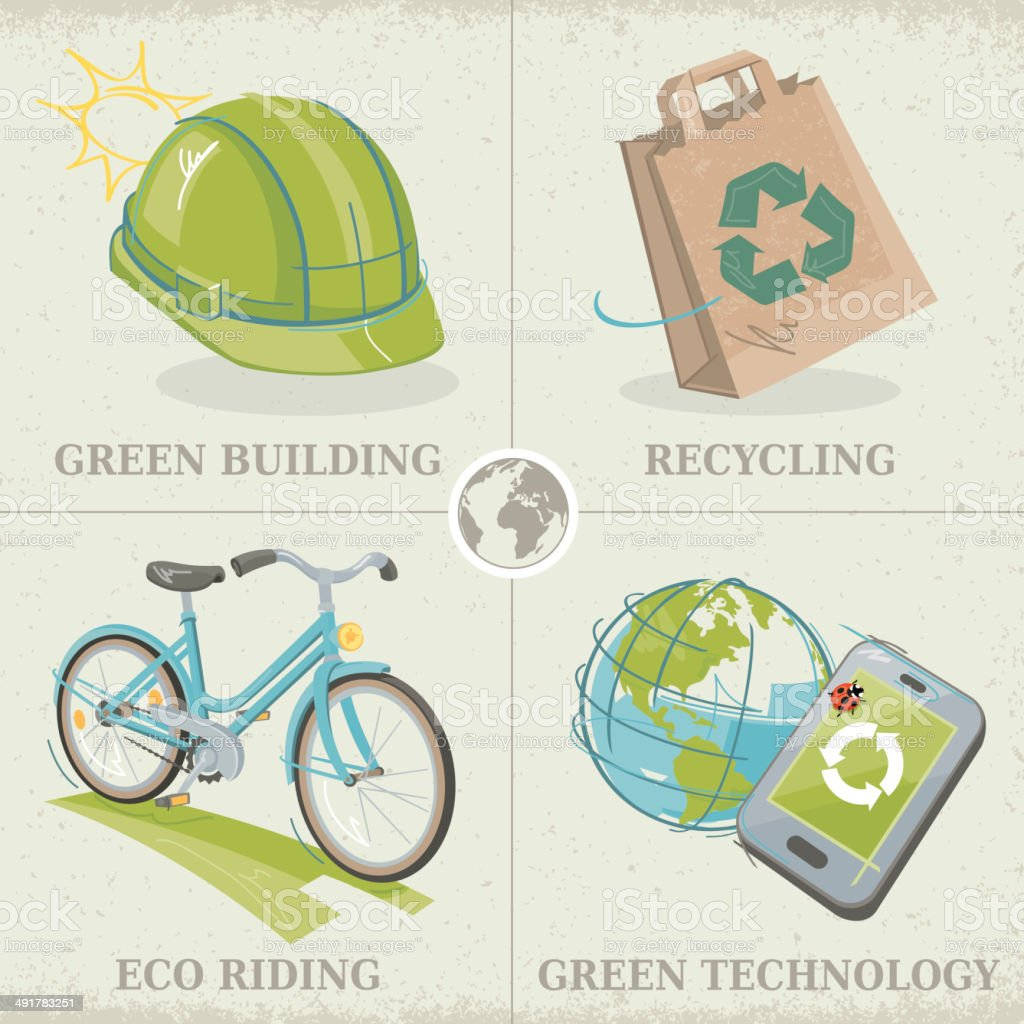 Ecology Concepts Green Building Recycling Eco Riding Green Technology royalty-free stock vector art