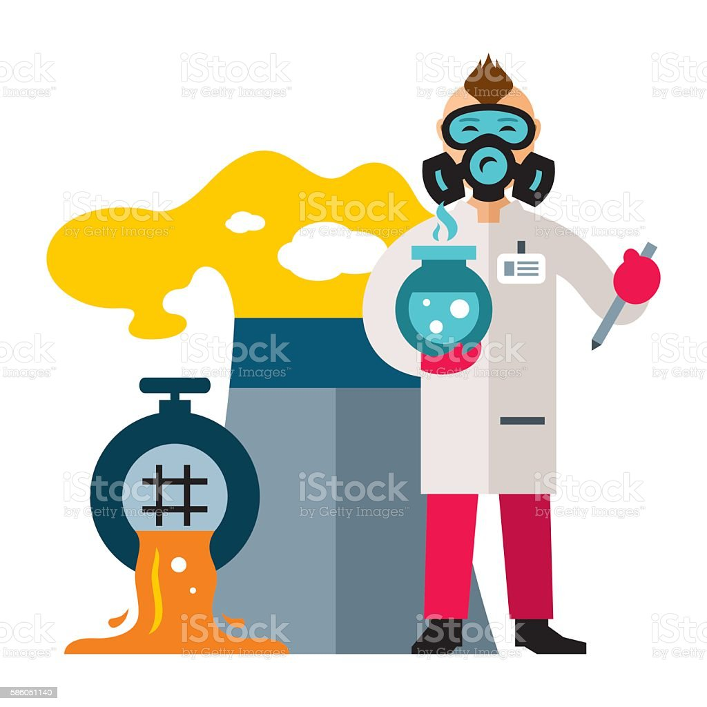 Ecology. Control of environmental pollution. Flat style colorful Vector Cartoon vector art illustration