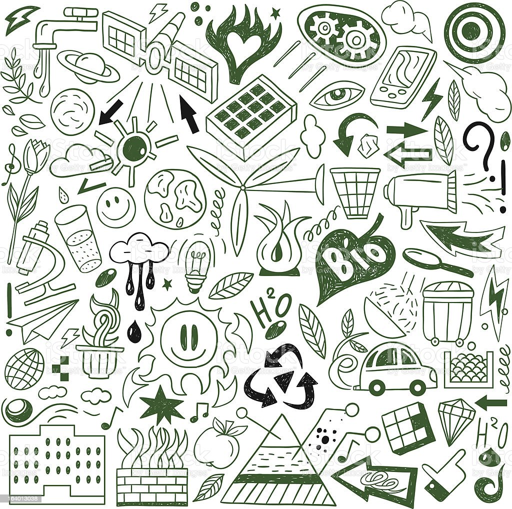 Ecology - doodles collection royalty-free stock vector art
