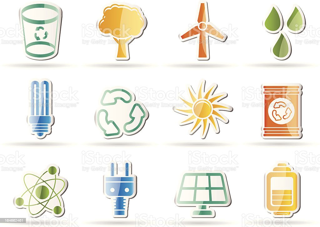 Ecology, energy and nature icons royalty-free stock vector art