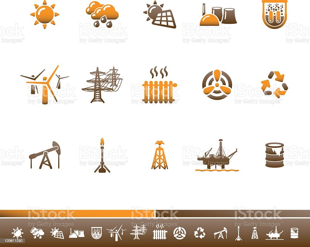 Ecology & Energy Icons | Orange Brown royalty-free stock vector art