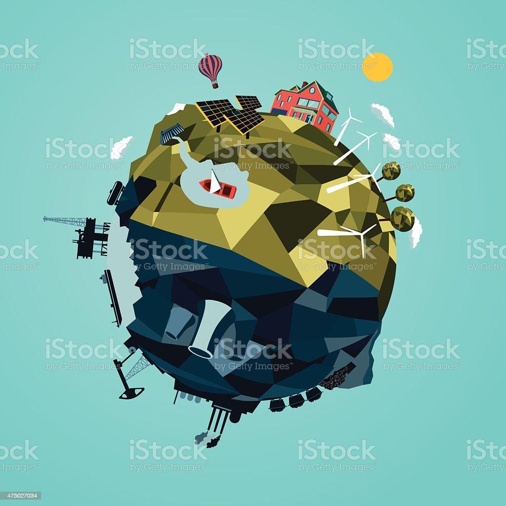 Ecology & Energy vector art illustration