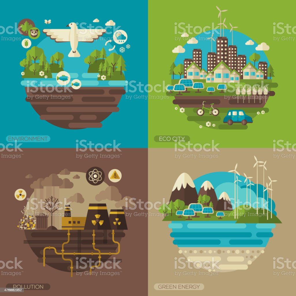 Ecology, environment, green energy and pollution. vector art illustration