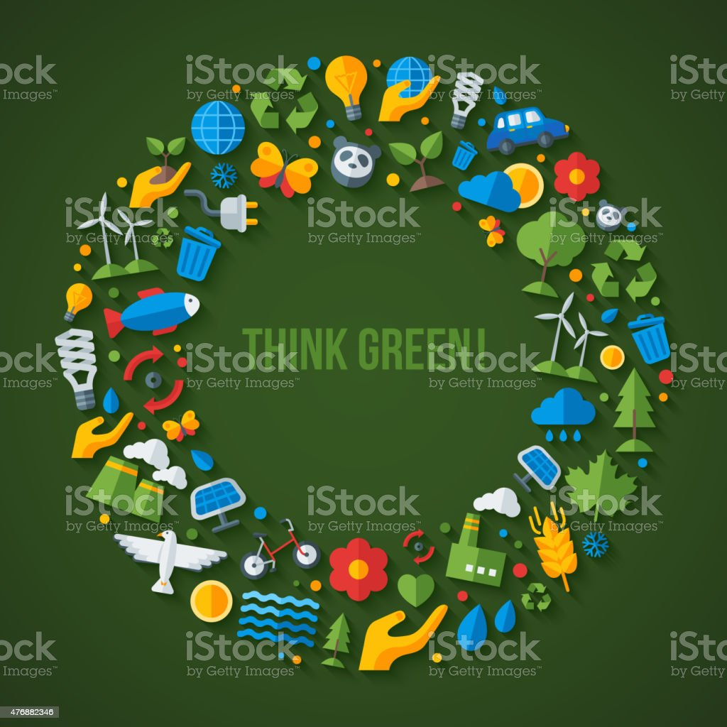 Ecology flat icons arranged in circle frame. vector art illustration