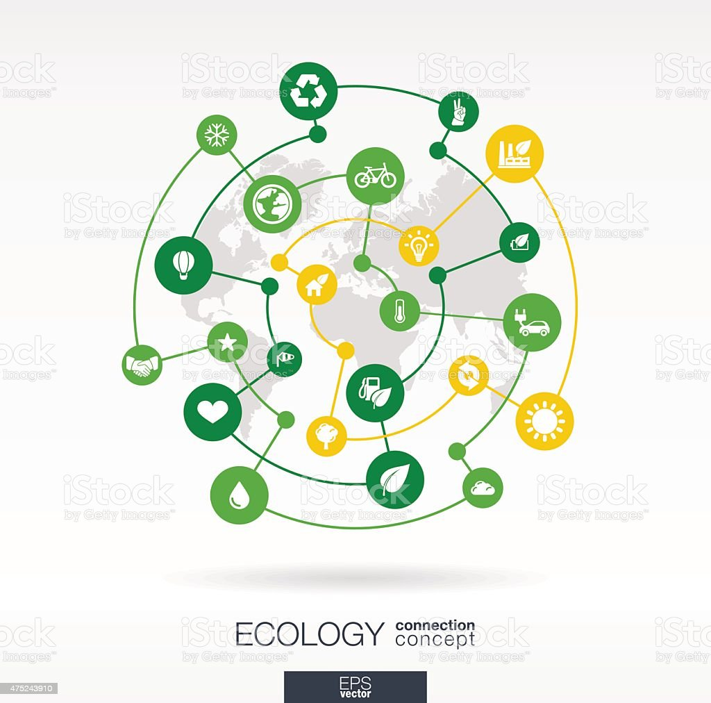 Ecology flat integrated icons set. Vector connection concept infographic illustration vector art illustration