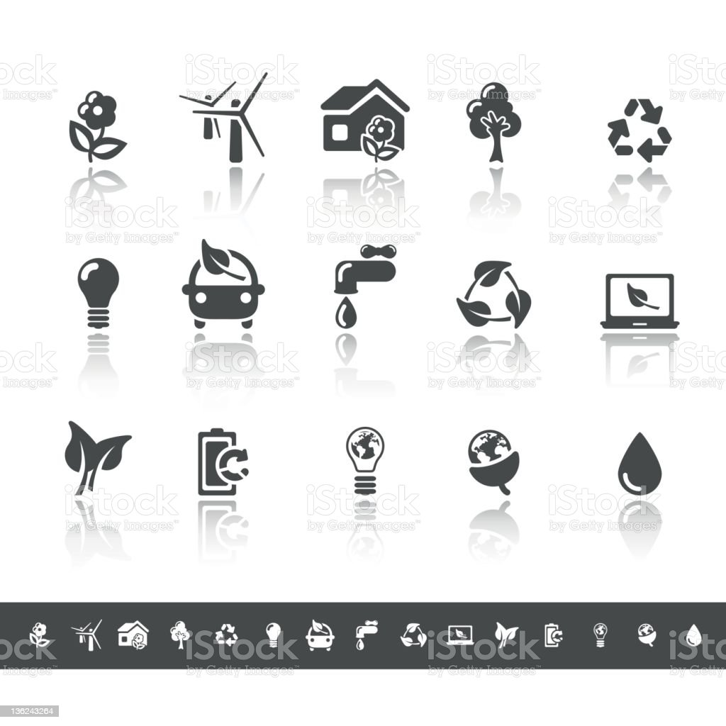 Ecology & Green Environment Icons | Simple Grey stock photo