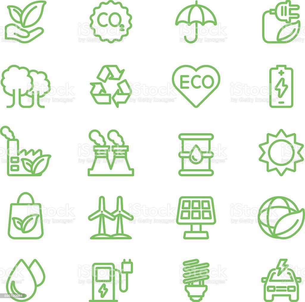 Ecology Green Line icons | EPS10 vector art illustration