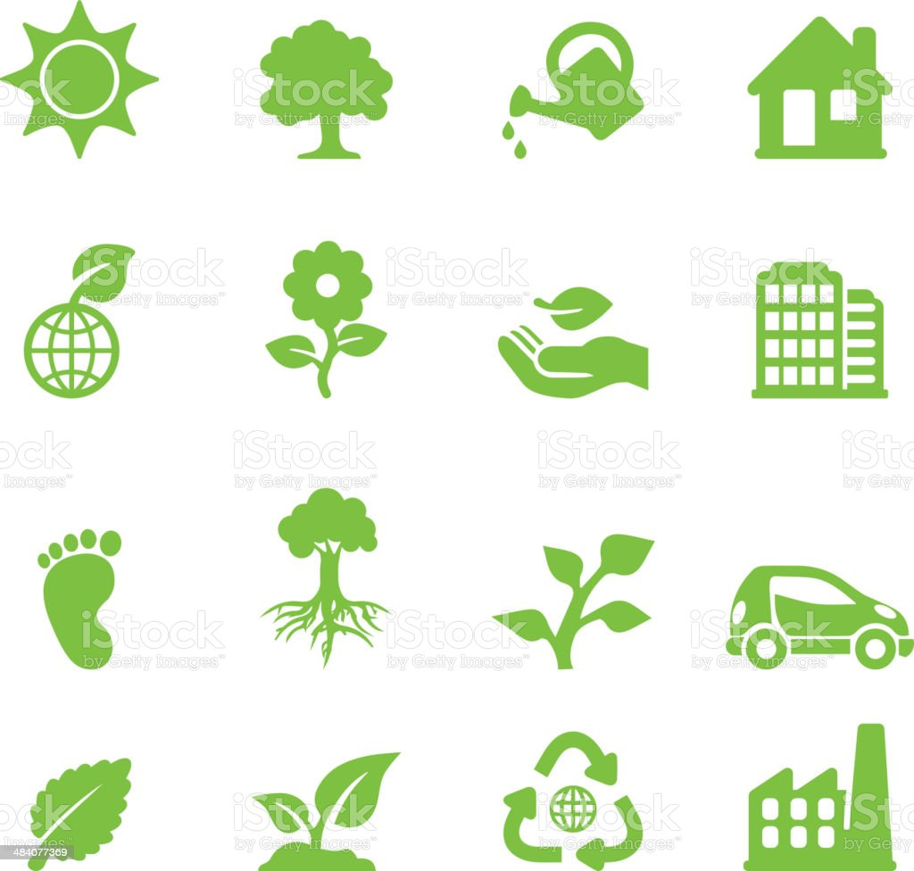 Ecology Green Silhouette Icons vector art illustration