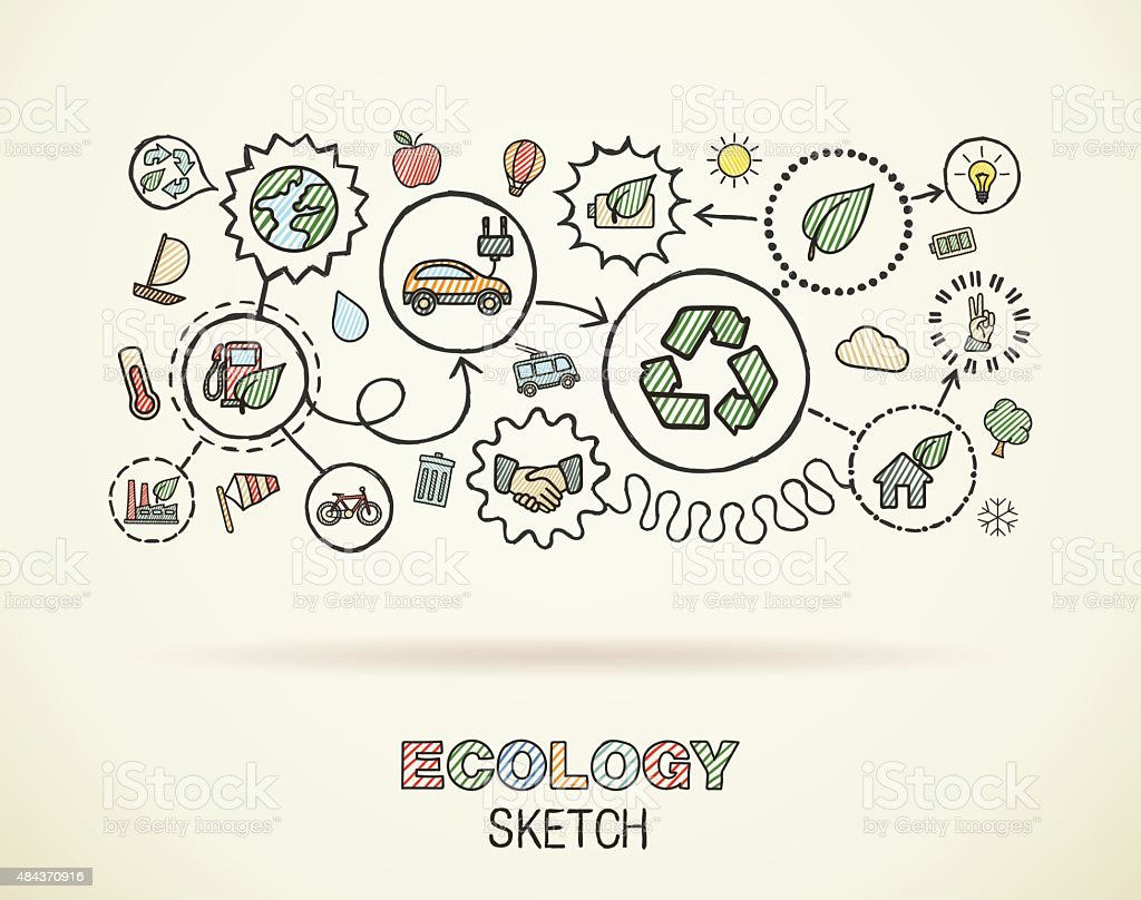 Ecology hand draw integrated doodle icons set. Vector sketch illustration. vector art illustration
