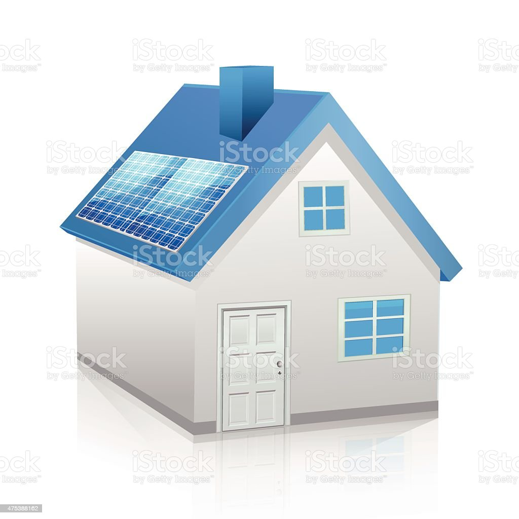 Ecology house with solar panel vector art illustration