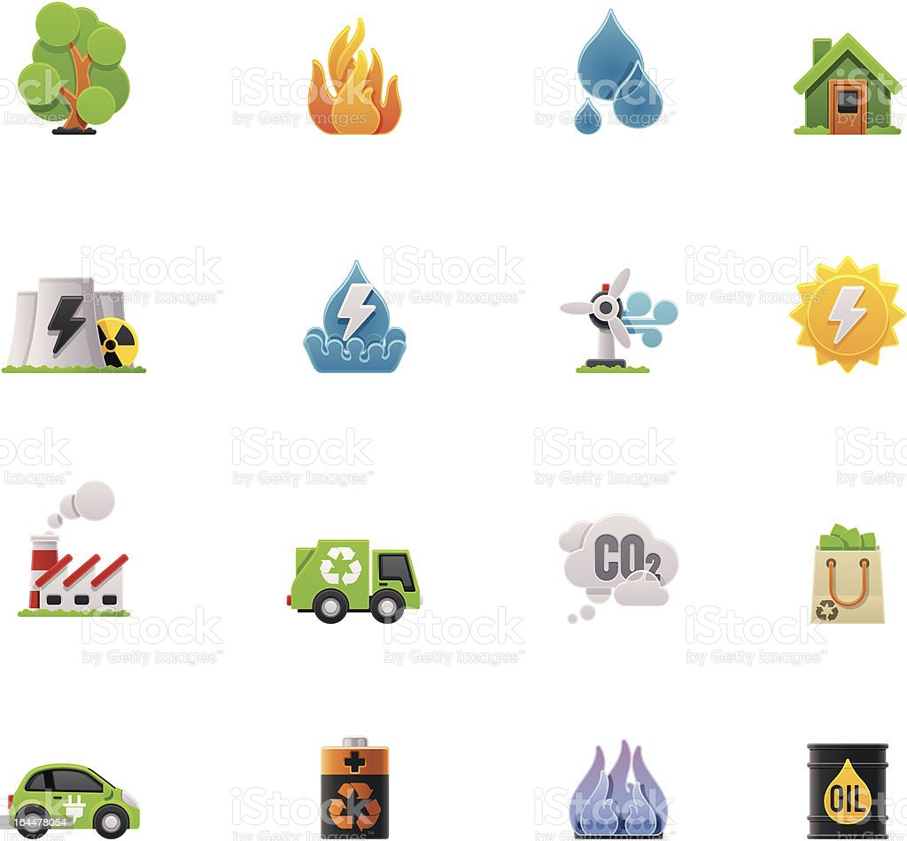 Ecology icon set on a white background vector art illustration