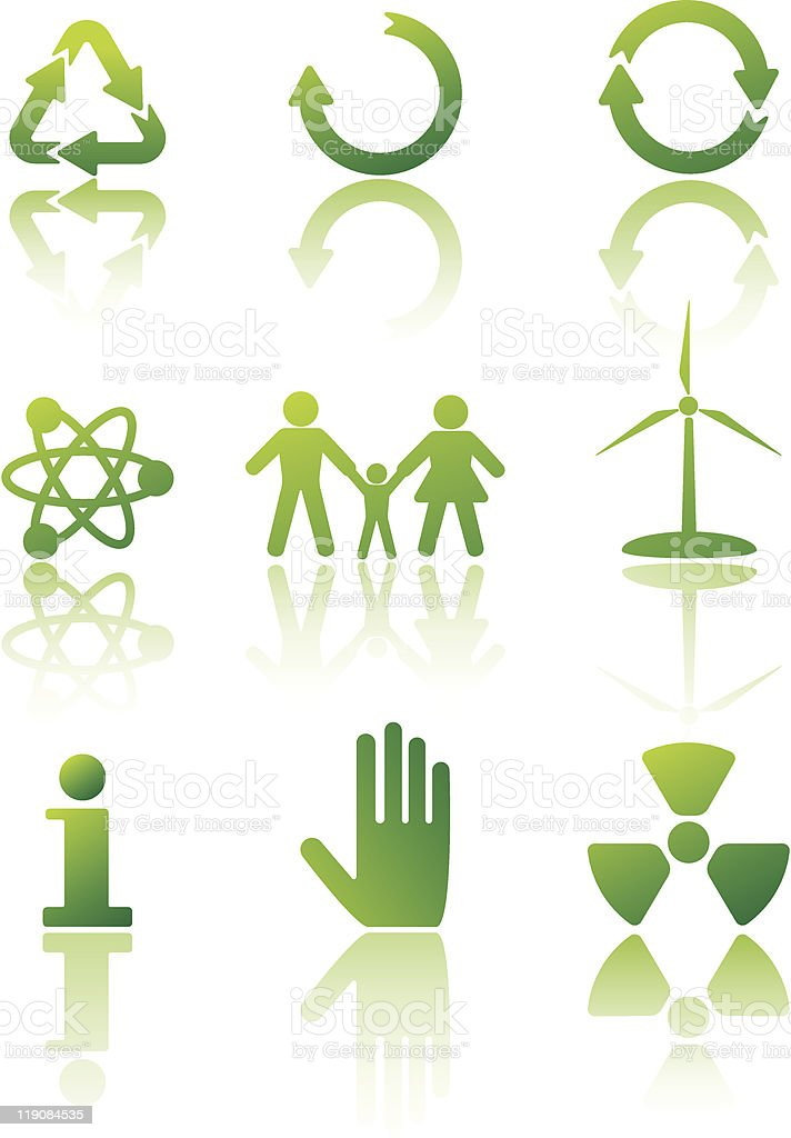 Ecology - icon set vector art illustration