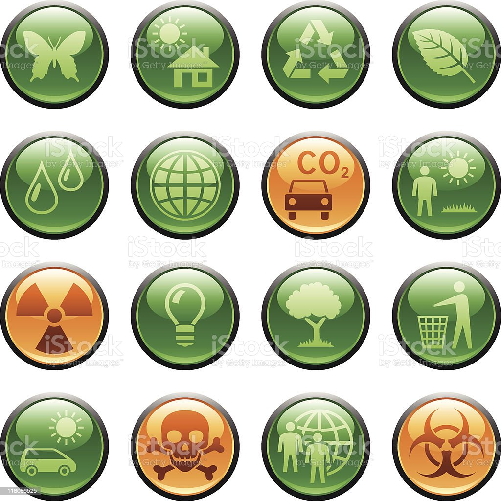 Ecology icons / buttons royalty-free stock vector art