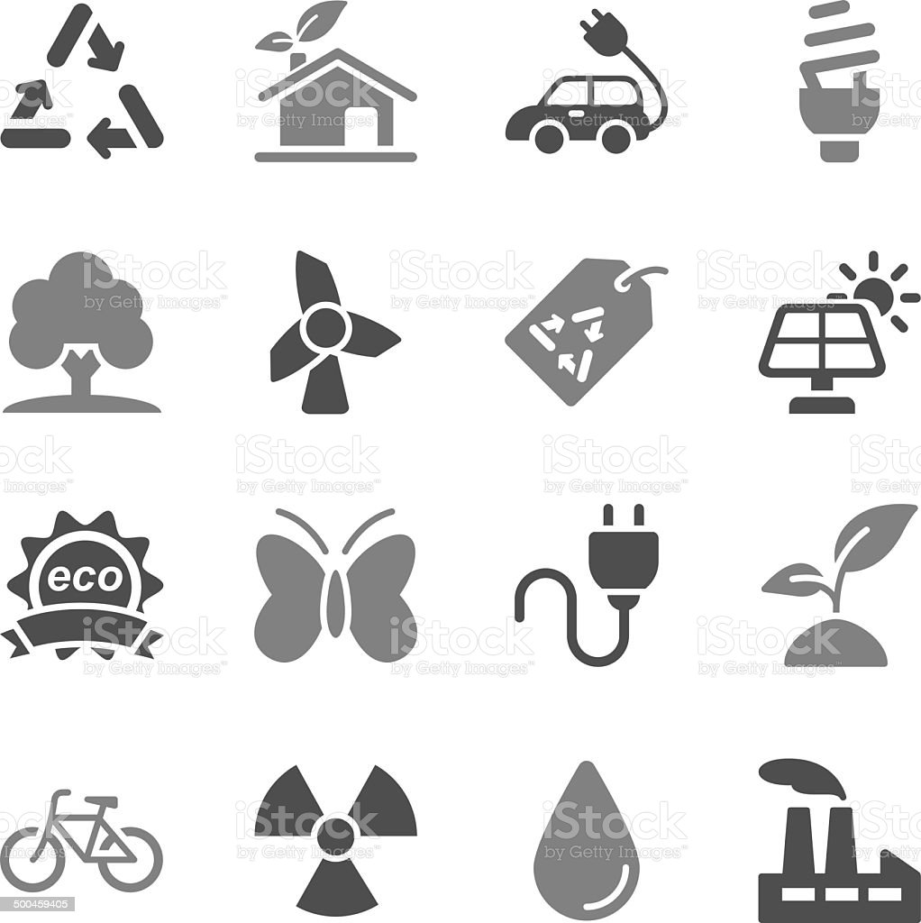 Ecology Icons Gray Color vector art illustration