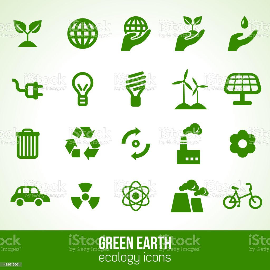 Ecology icons isolated on white. vector art illustration