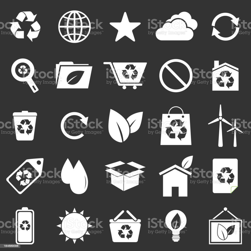 Ecology icons on gray background royalty-free stock vector art