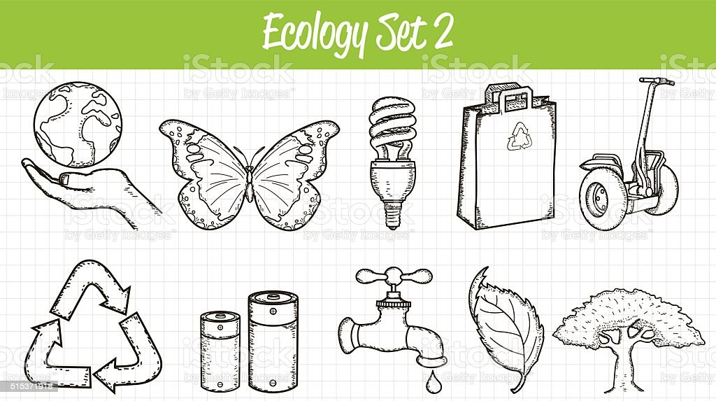 Ecology icons set. Hand drawn illustration. Vector vector art illustration