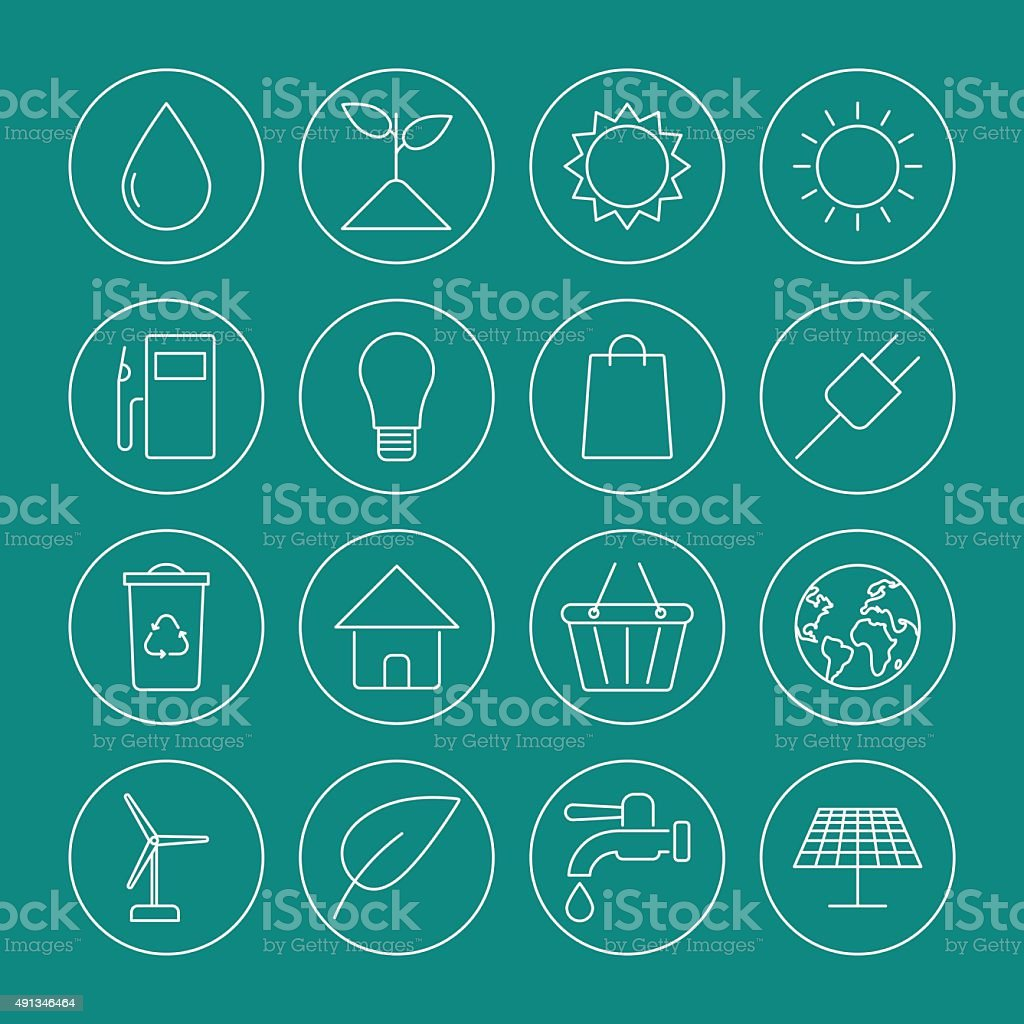 ecology icons set vector art illustration