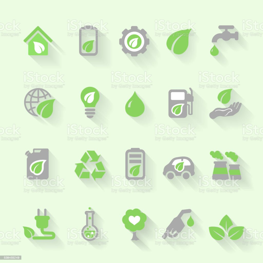 Ecology icons with environment, green energy and pollution in flat vector art illustration